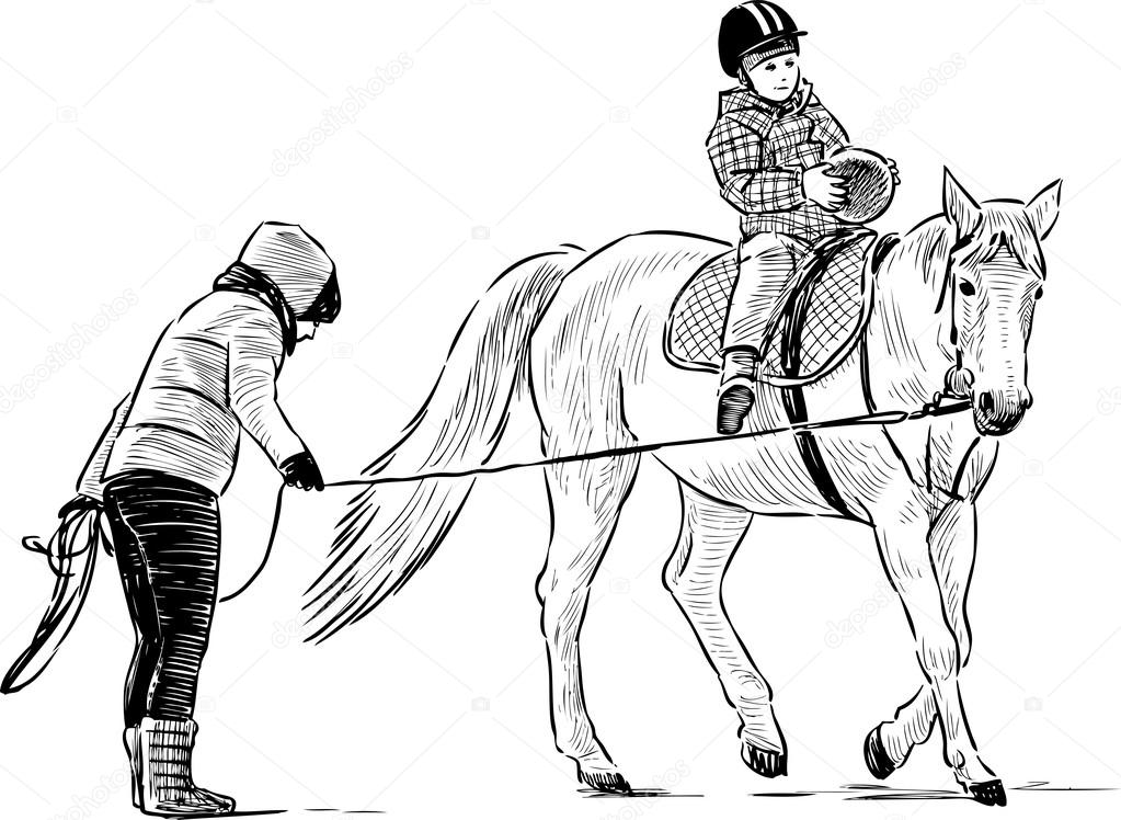 1023x748 Horse Riding Lesson Stock Vector Samakarov@mail.ru