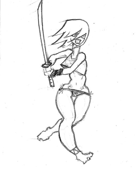 Girl Running Drawing