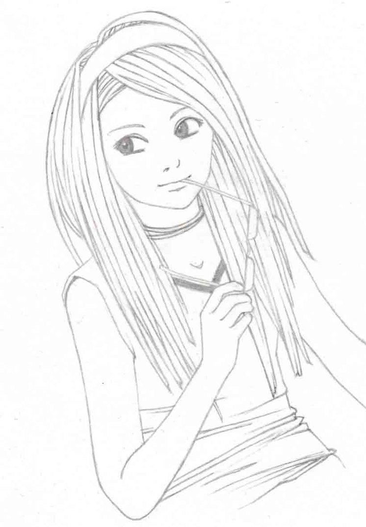 746x1072 girl sad drawing sketch drawing easy sad pencil drawings also