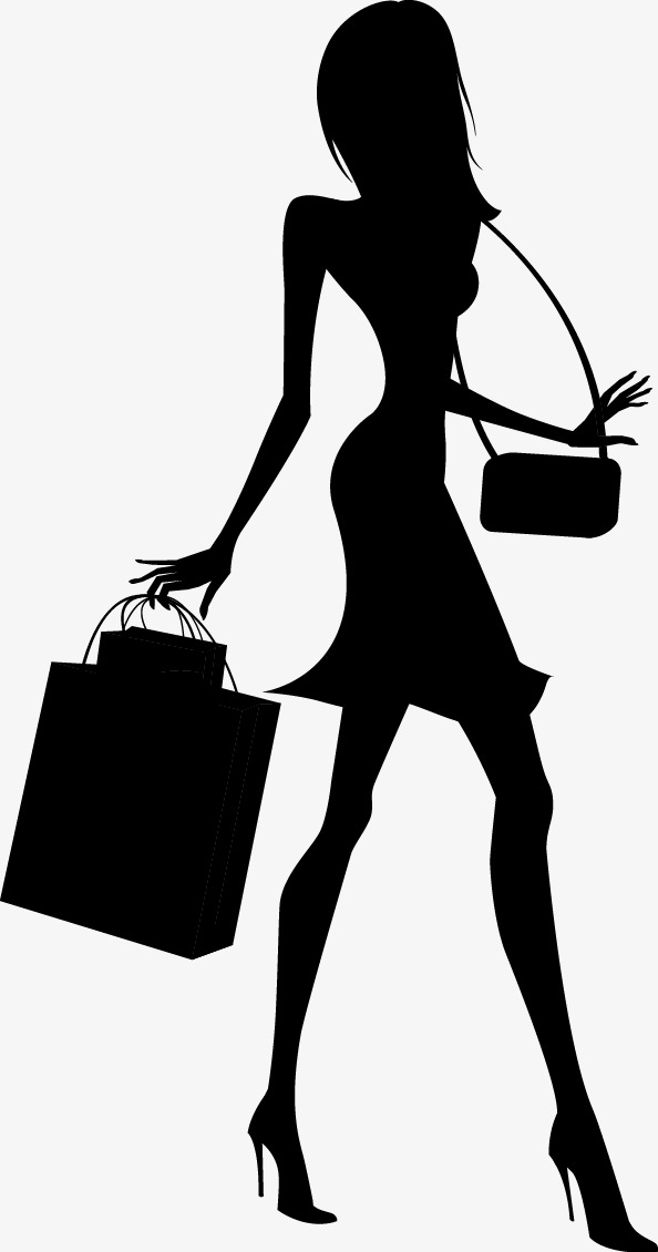 594x1130 Fashion Shopping Girl Silhouette, Fashion, Shopping, Girls Png