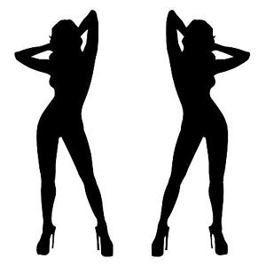 300x300 SEXY GIRL SILHOUETTE PAIR STICKER,VINYL CAR DECAL, NAKED, HOT