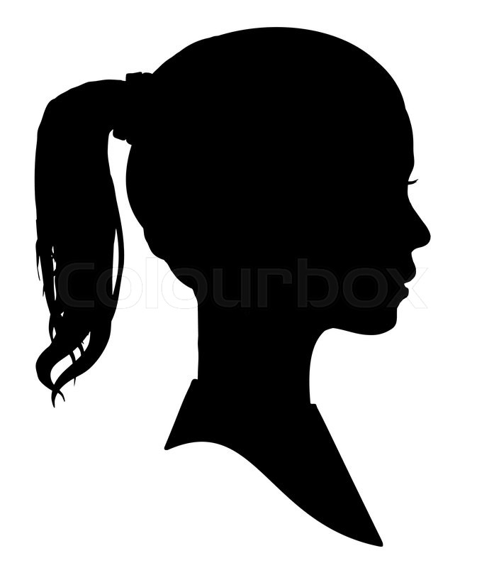 697x800 Silhouette of a girls head Stock Photo Colourbox