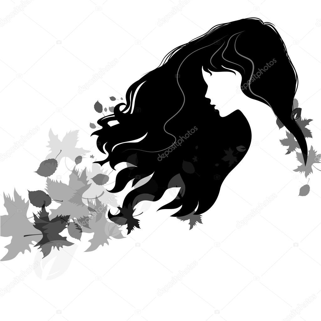 1024x1024 Beautiful Girl Silhouette With Flying Hair And Colorful Autumn