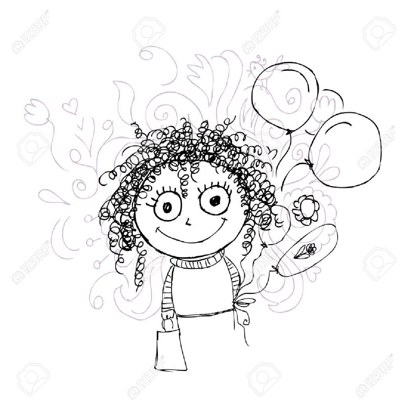 1300x1300 Curly Girl Sketch With Balloons For Your Design Royalty Free
