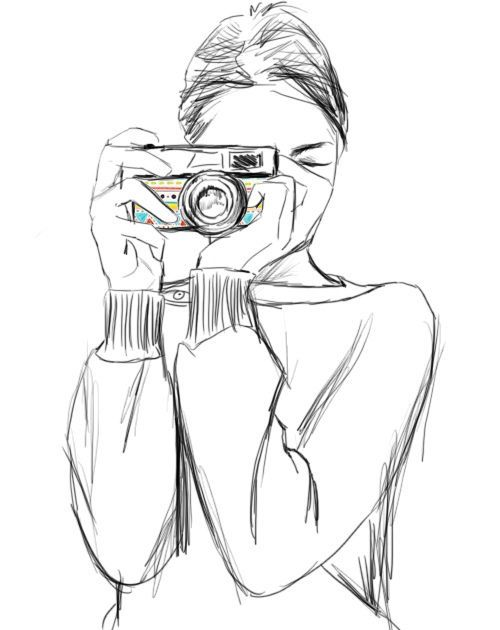 500x630 Girl With Camera Sketch Drawings Sketches, Cameras