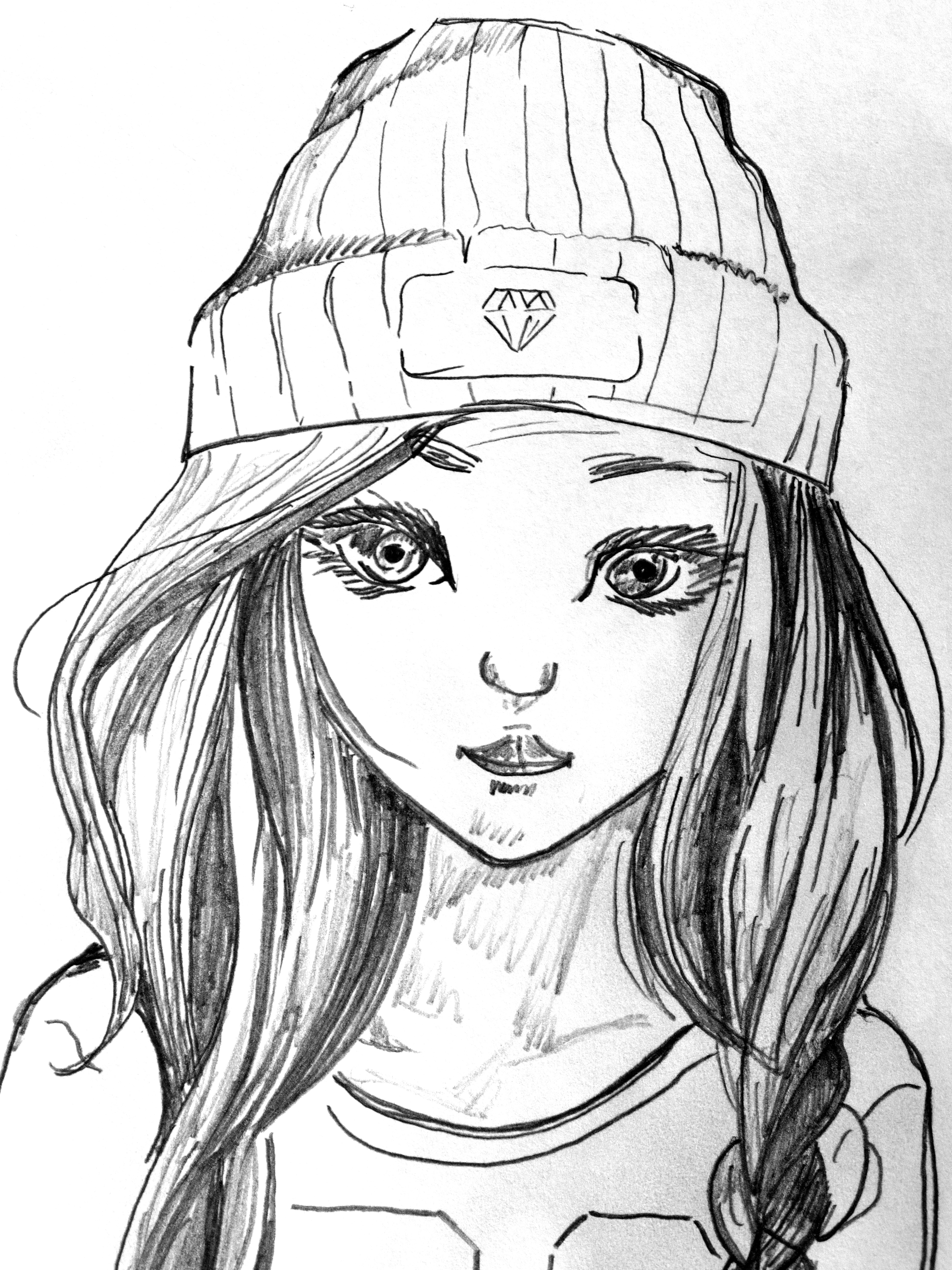 3888x5184 Woman With Knit Cap Sketch Free Image Peakpx