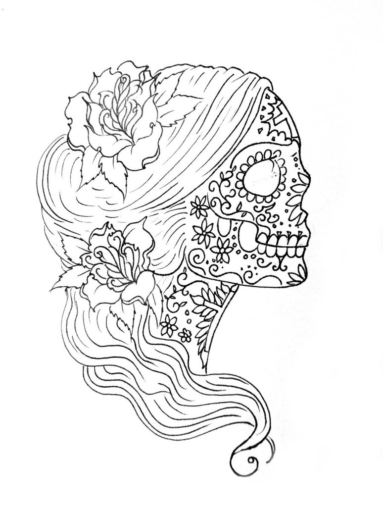 774x1032 Coloring Simple Sugar Skull Drawing Pages