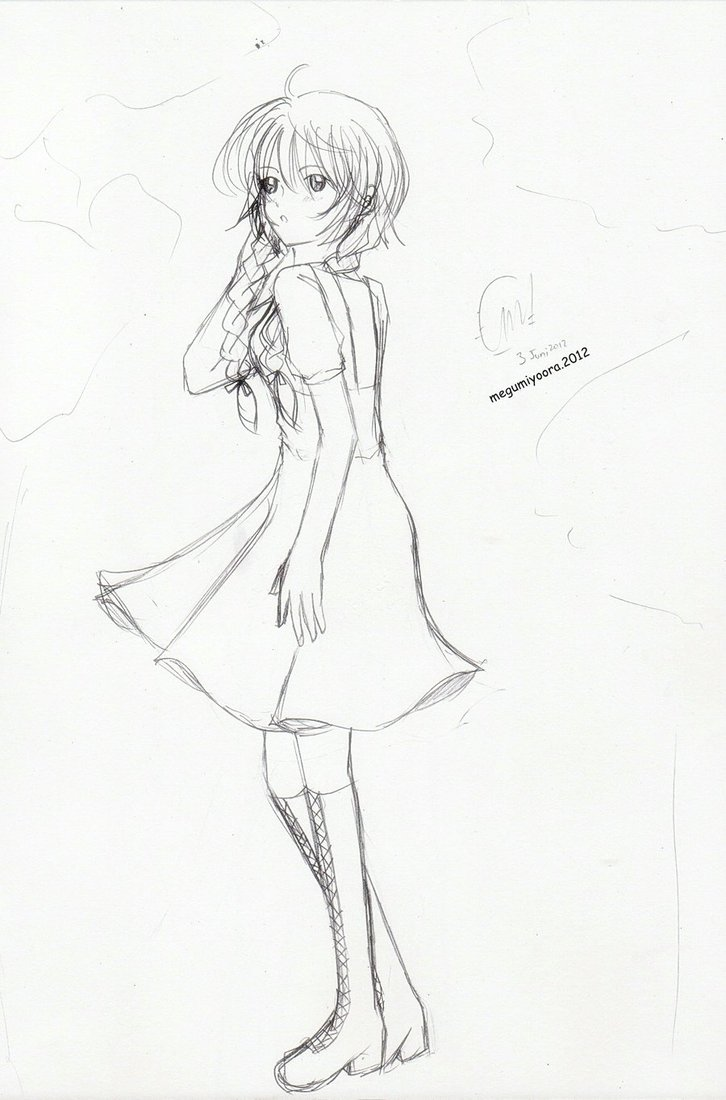 Girl Standing Drawing At Getdrawings Com