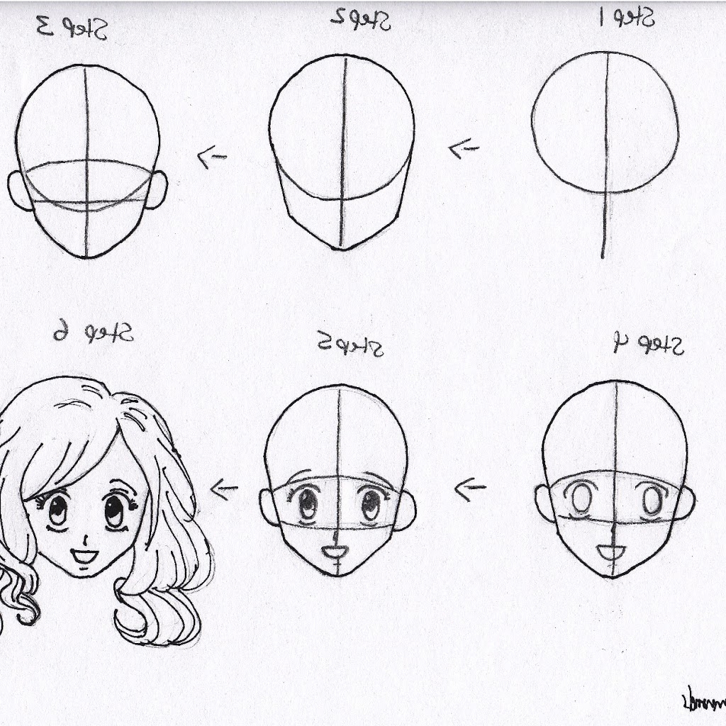 1024x1024 Anime Step By Drawing Faces For Beginners Stepstep