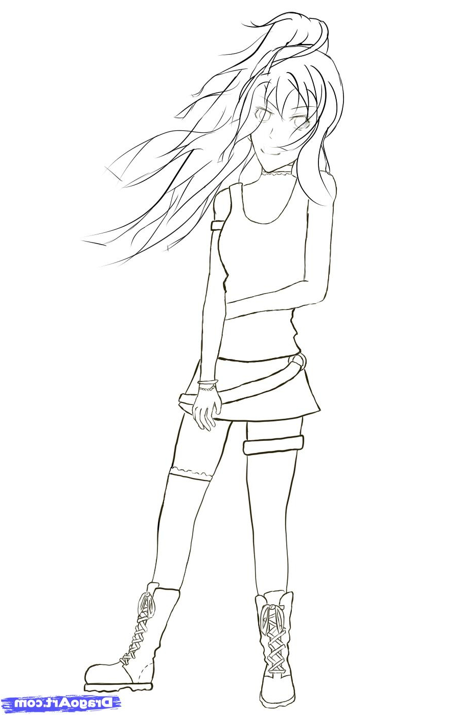 900x1400 Easy Anime Simple Girl Whole Body Drawing Easy Anime Pencil