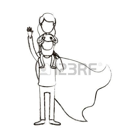 450x450 Silhouette Cartoon Full Body Super Dad Hero With Girl On His