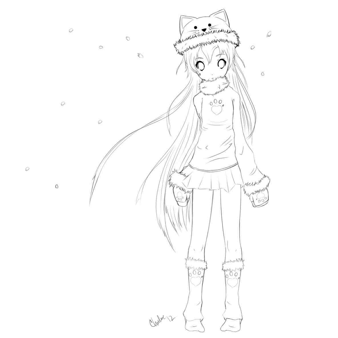 1185x1185 Gallery Pictures Easy Drawings Of Anime Girls Whole Body To Draw