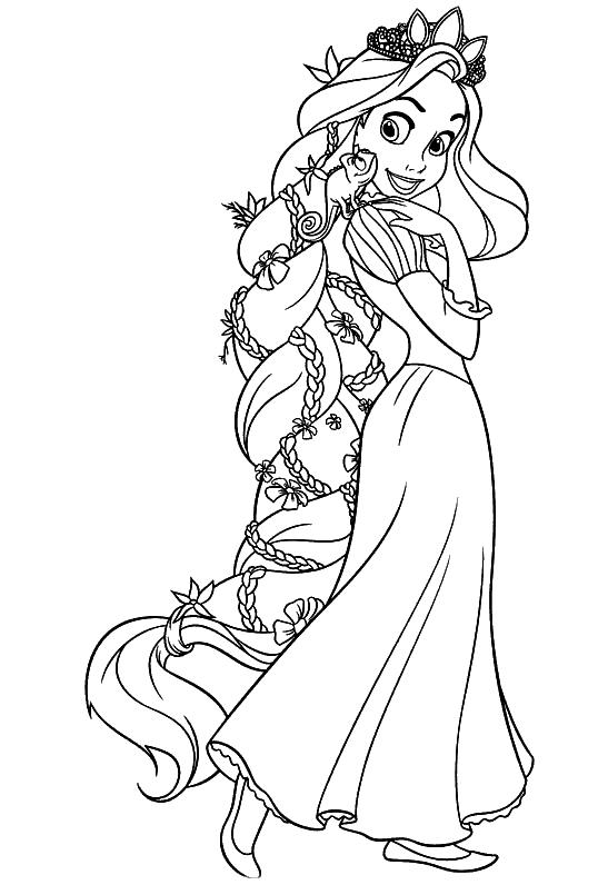 538x796 Rapunzel Flower Hair Pencil Sketch Full Body