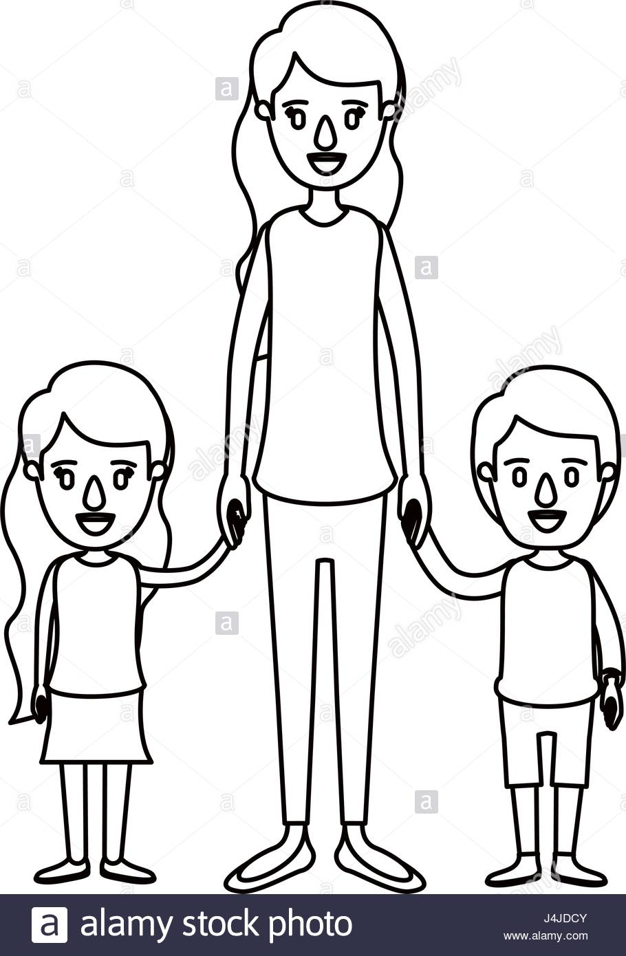 910x1390 Silhouette Caricature Full Body Mother Taken Hand With Girl