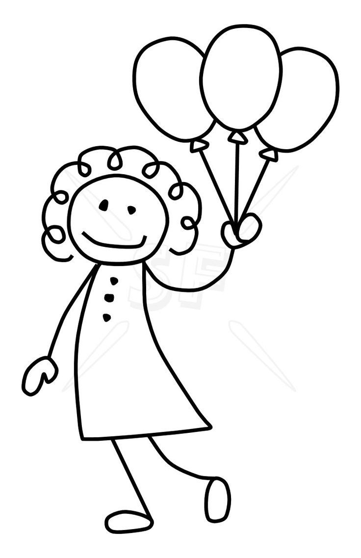 Girl With Balloons Drawing