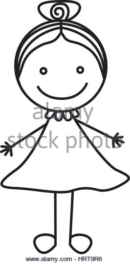 266x540 Cute Little Girl Outline Drawing Stock Photos Amp Cute Little Girl