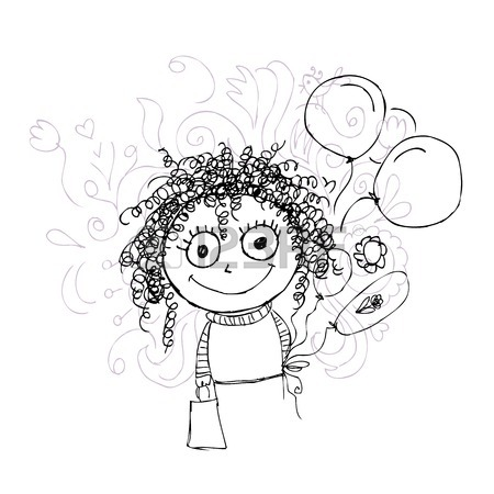 450x450 Funny Girl Sketch For Your Design Royalty Free Cliparts, Vectors