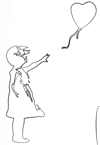 333x480 Girl With Balloon By Banksy Coloring Page Free Printable