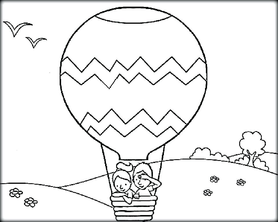 960x767 Hot Air Balloon Coloring Pages Boy And Girl In The Air Balloon Hot