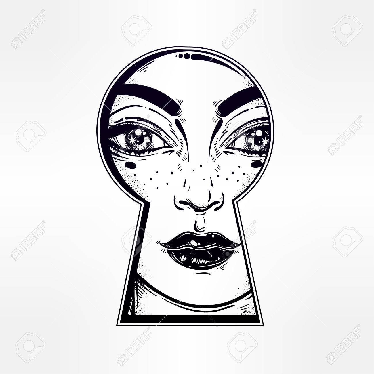 1300x1300 Beautiful Girl Peeping Through The Keyhole. Graphic Outline