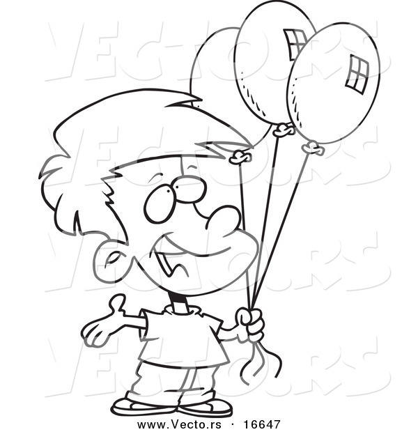 600x620 Vector Of A Cartoon Birthday Boy Holding Three Balloons