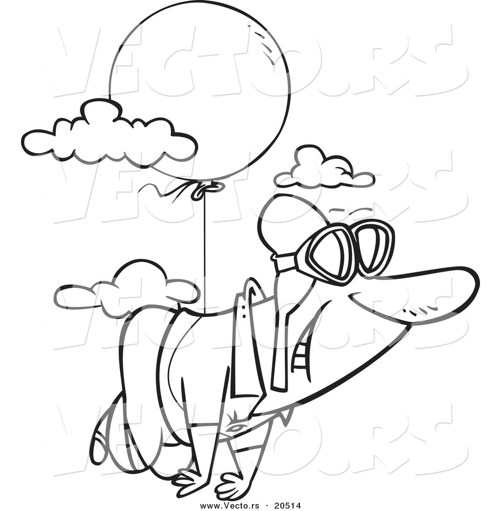 1024x1044 Vector Of A Cartoon Man Floating Through The Sky With Balloon