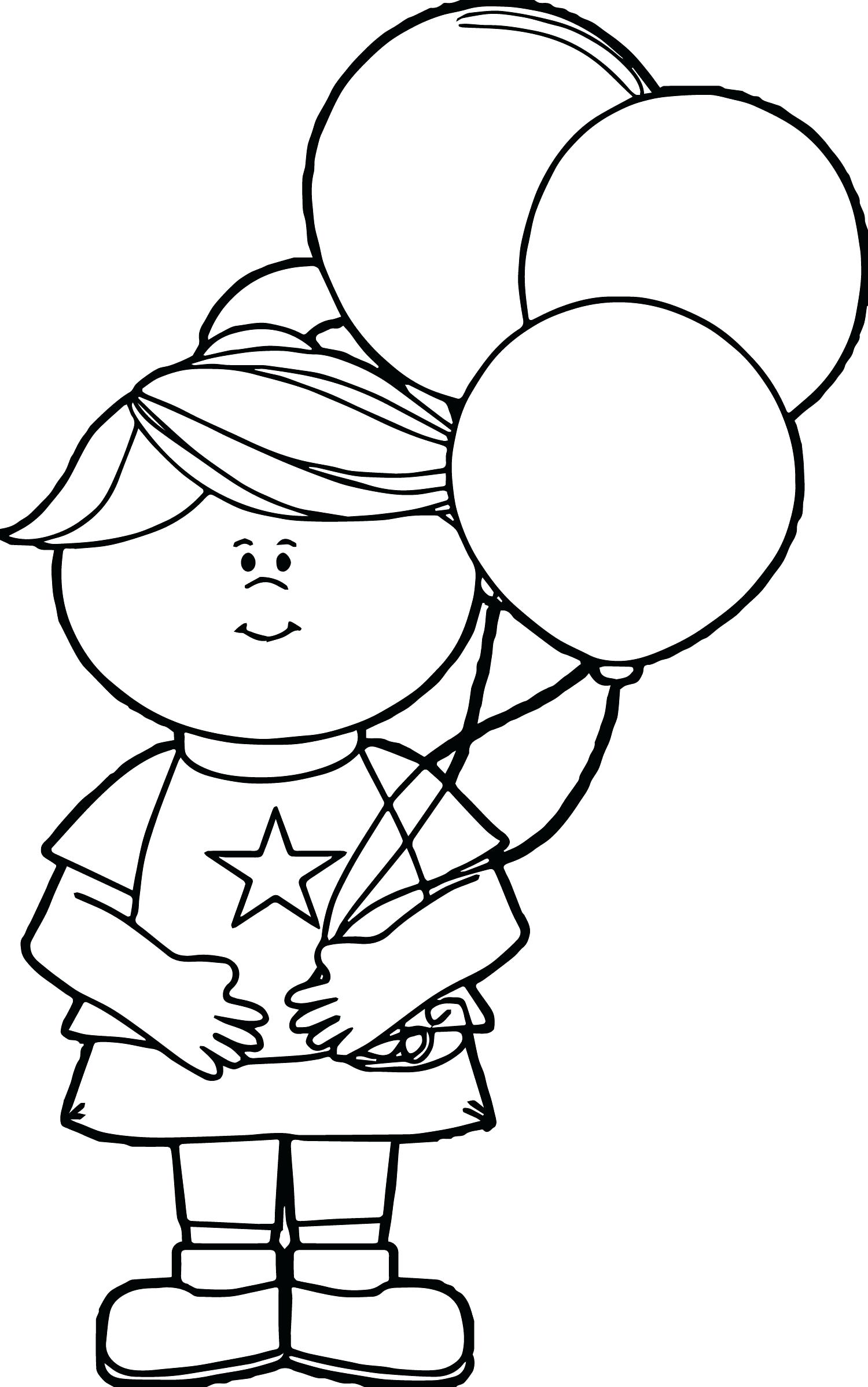 Coloring Page Of A Girl And Balloons - Worksheet & Coloring Pages