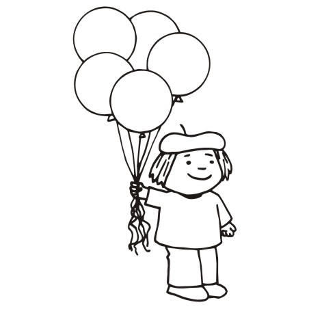 452x452 Boy Holding Balloons Clipart Black And White