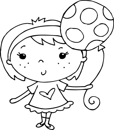 479x550 Coloring Page Of Girl With Balloon