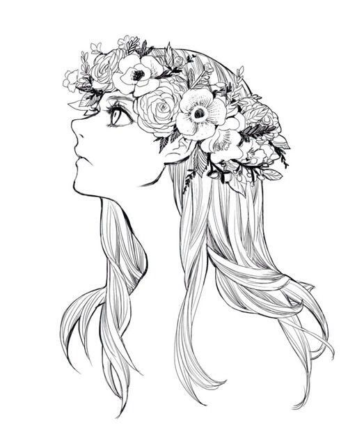 Girl With Flowers In Her Hair Drawing