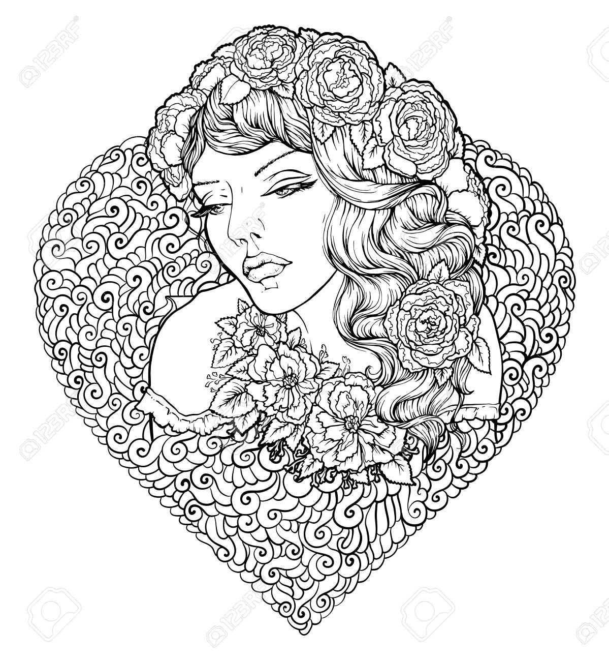 1199x1300 Face Of Pretty Elegant Boho Girl With Heart Shaped Frame
