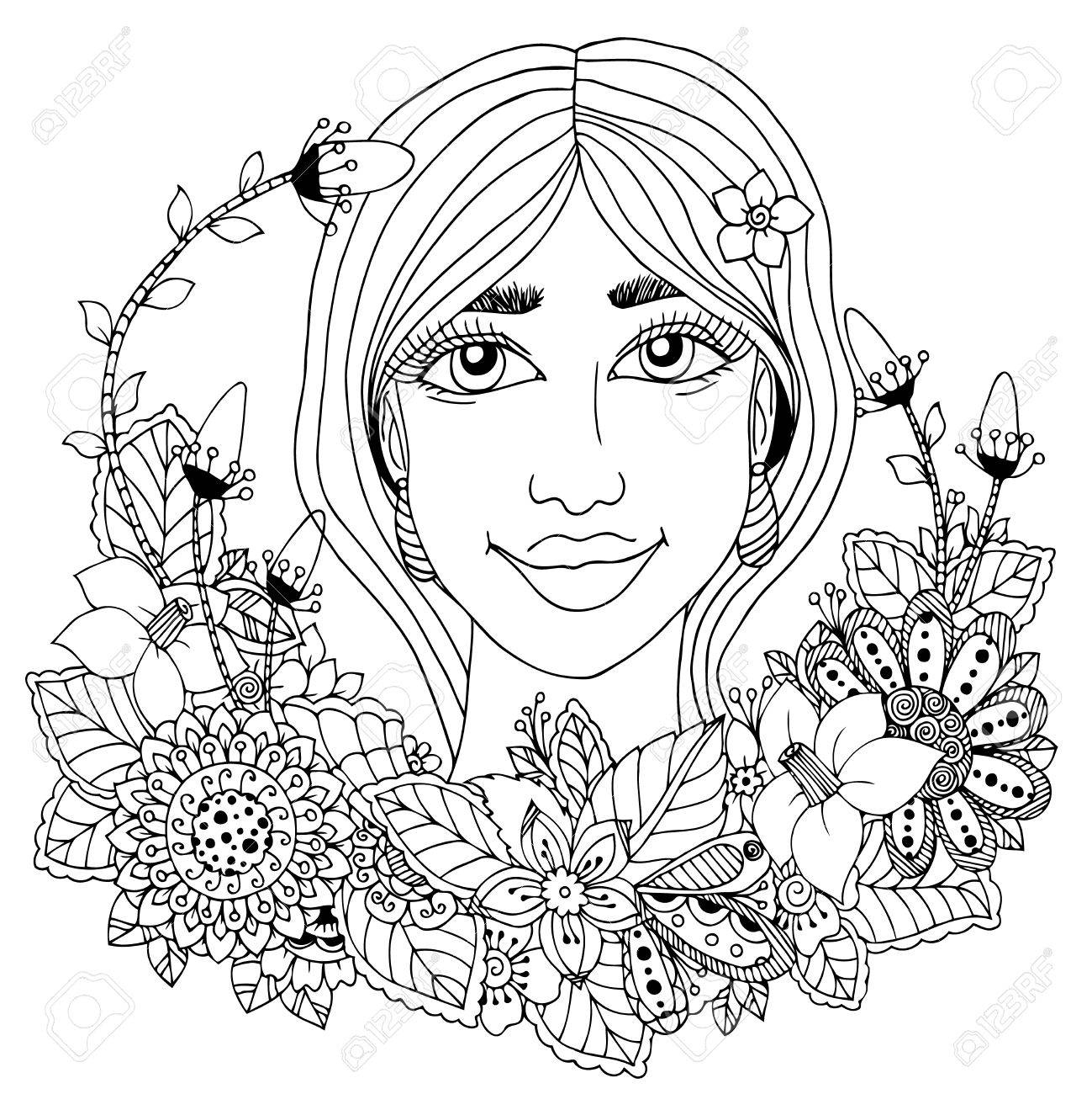 1299x1300 Girl With Flowers In Her Hair Drawing Vector Illustration Zentangl