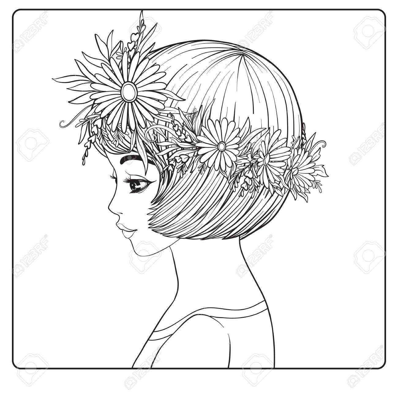 1300x1300 A Young Beautiful Girl With A Wreath Of Flowers On Her Head