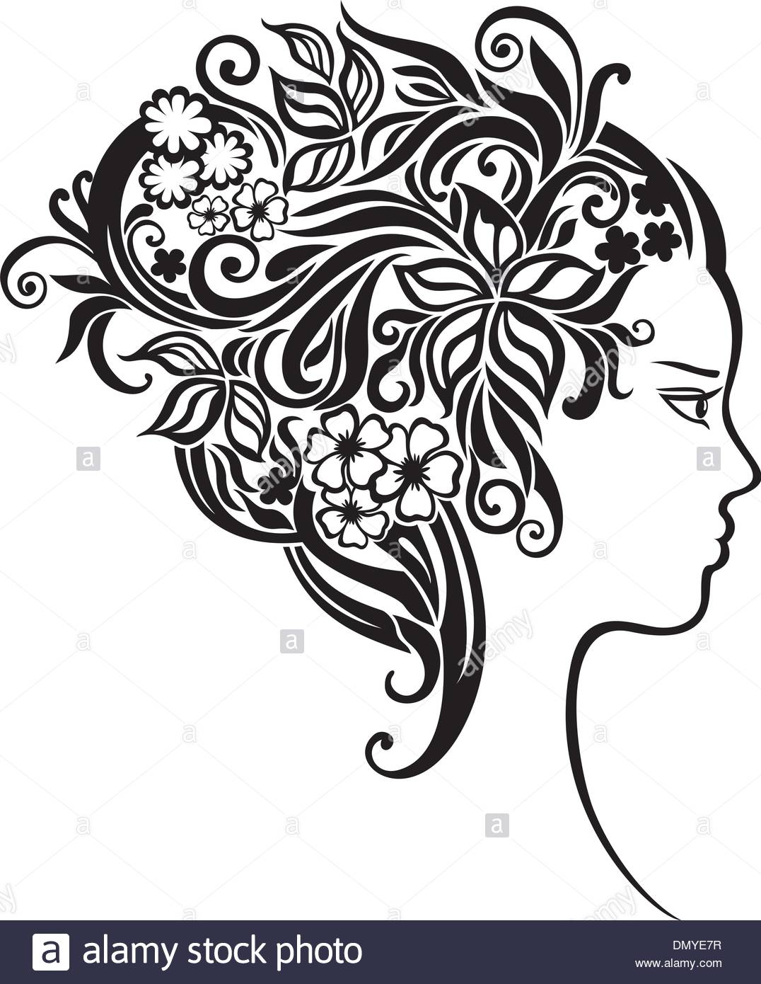 1076x1390 Girl With A Beautiful Flowers In Her Hair Stock Vector Art
