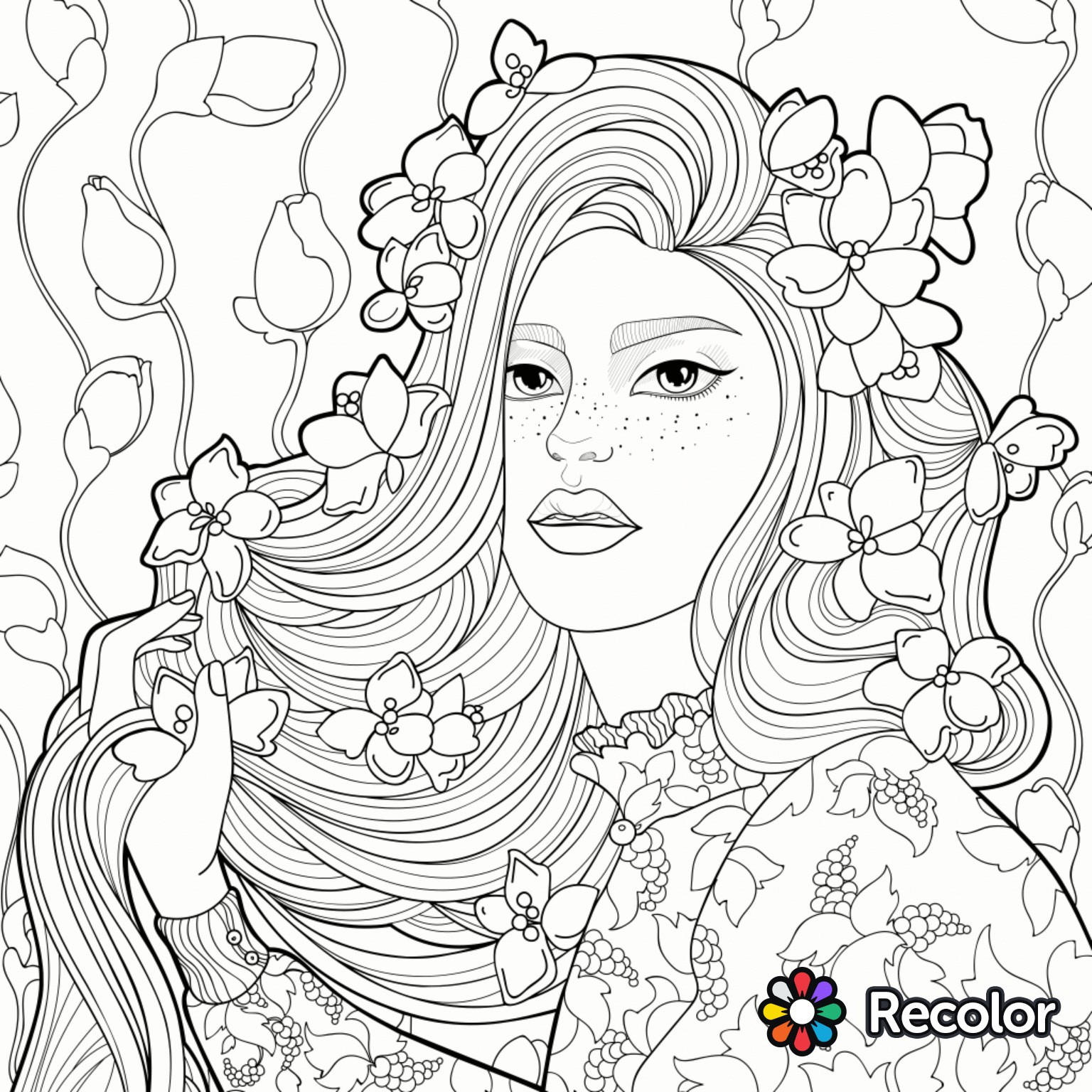 Girl with flowers in her hair drawing at Coloring book hair