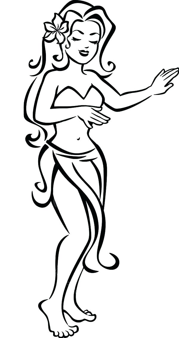600x1129 Hair Coloring Pages Free Beautiful Hula Girl Sky Lovely