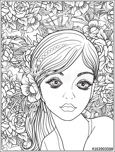 379x500 A Young Beautiful Girl With A Wreath Of Flowers On Her Head.