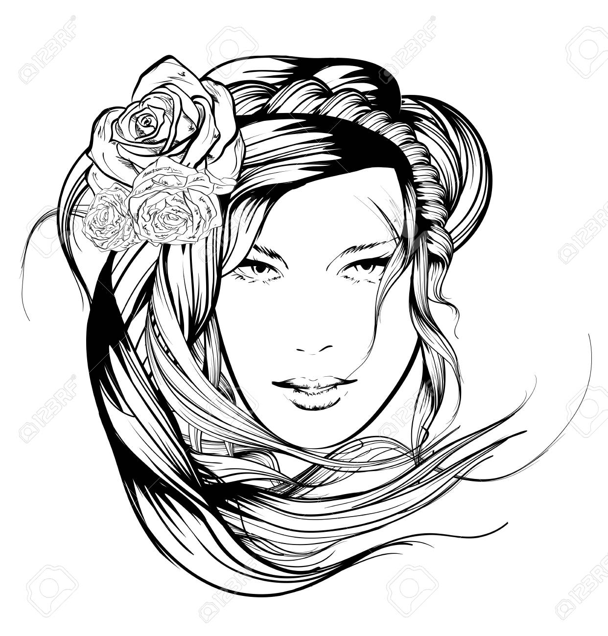 1242x1300 Sketch. Summer Style. Girl With Flowers In Her Hair Royalty Free