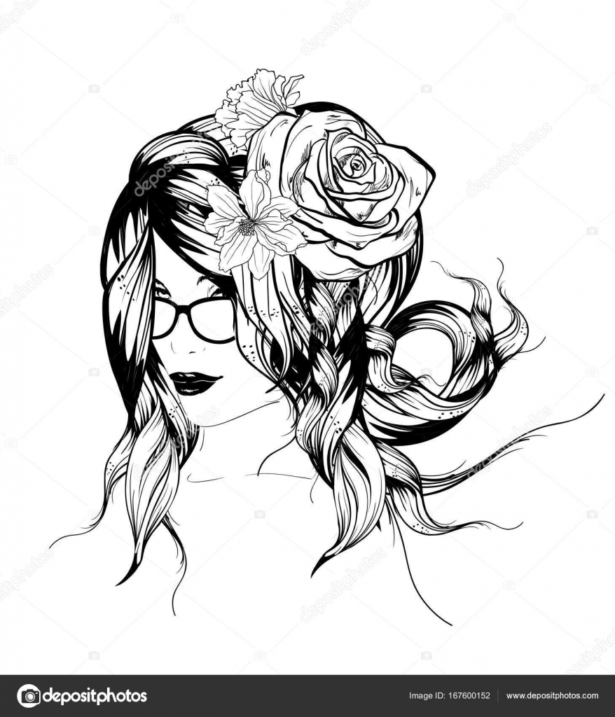 878x1024 Sketch. Summer Style. Girl With Flowers In Her Hair Stock Vector