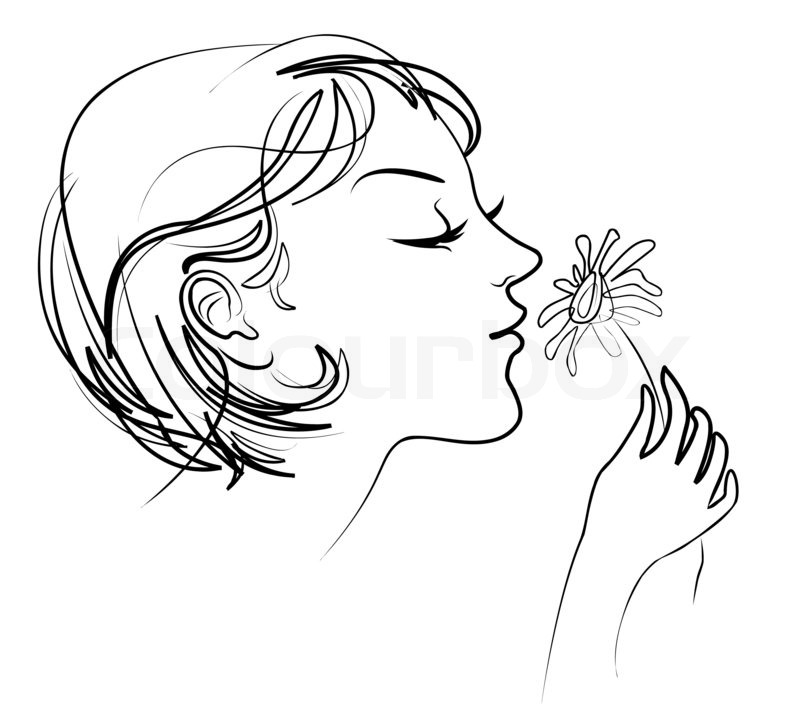 800x722 The Girl Holds In Her Hand Tenderly Daisy Smelling Flowers Stock