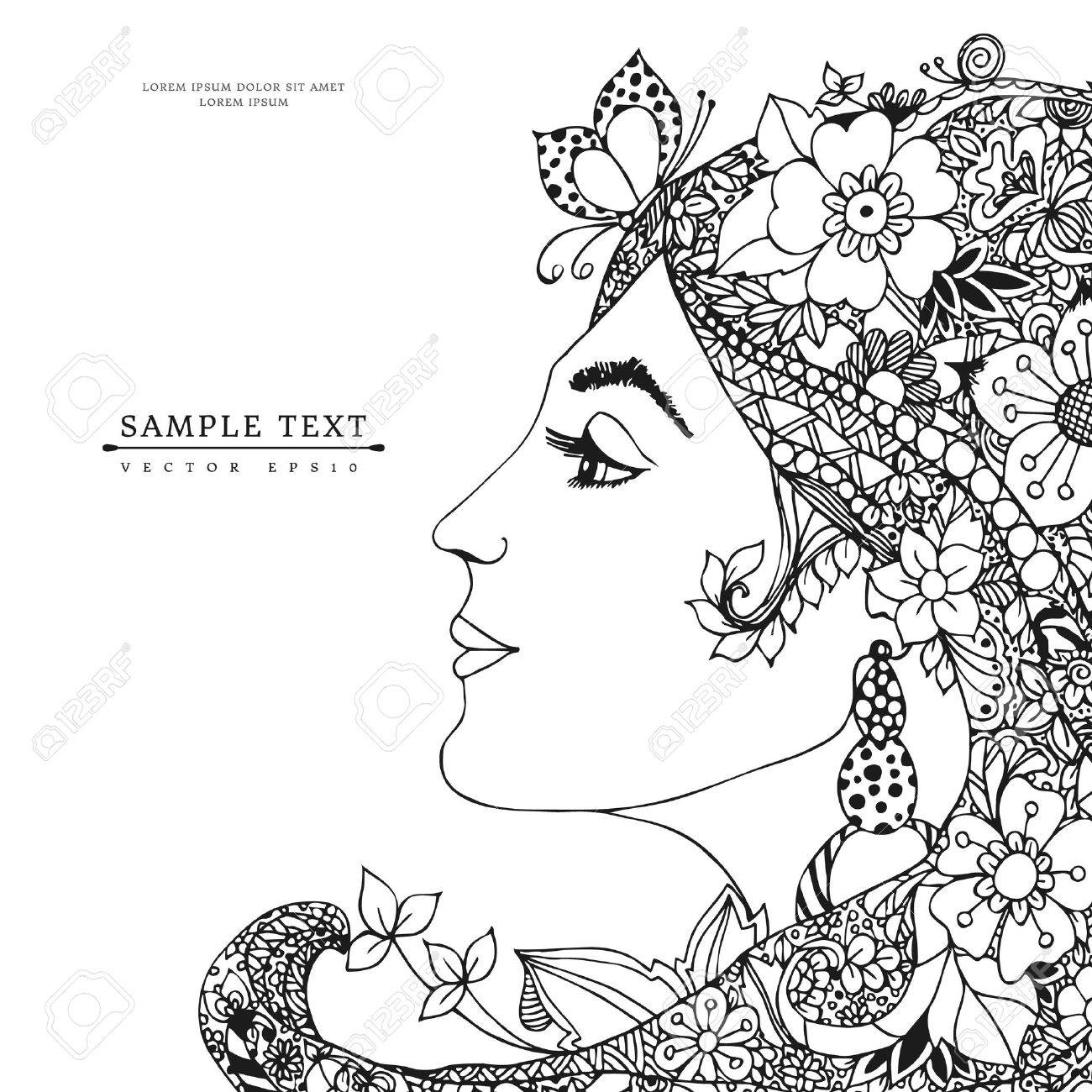 1300x1300 Vector Illustration Card Of The Profile Of A Girl With Flowers