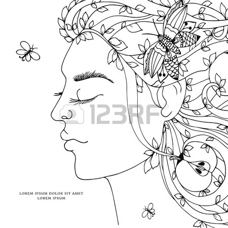 450x450 Vector Illustration Zen Tangle, Girl, Woman With Flowers In Her