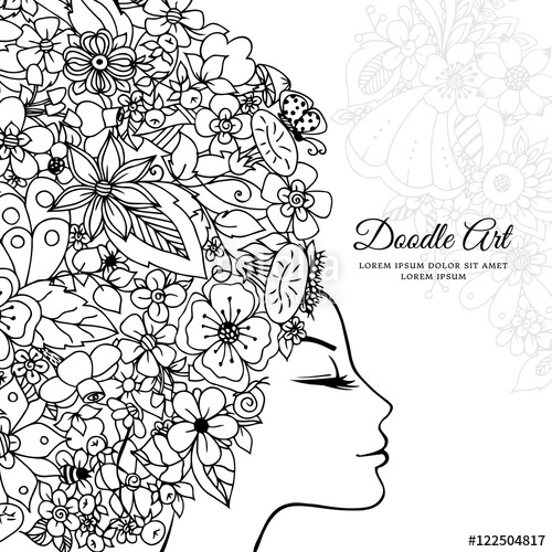 500x500 Vector Illustration Zentangl Girl With Flowers In Her Hair. Doodle