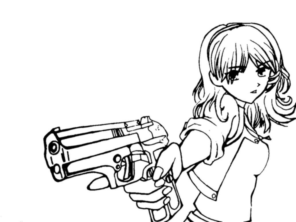1032x774 Girl With Gun Line Art By Justmikki