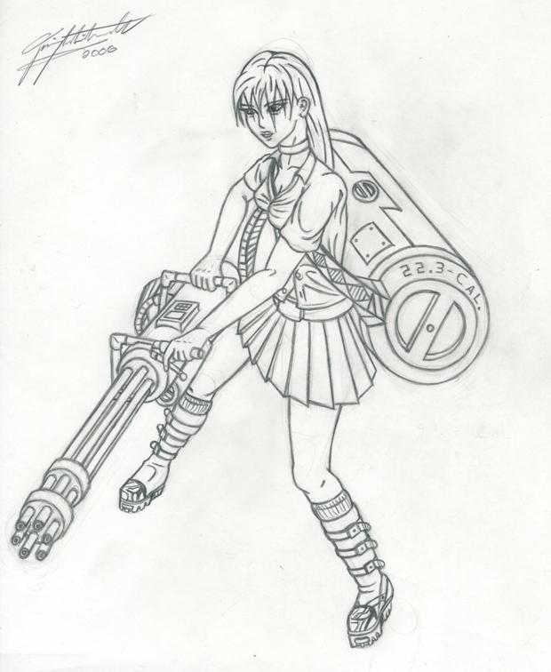 620x756 Mini Gun Girl By Project86xero