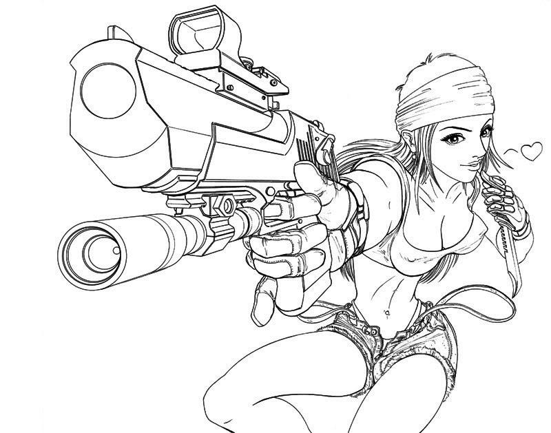 800x629 Gun Girl Art Line Word By Sinms