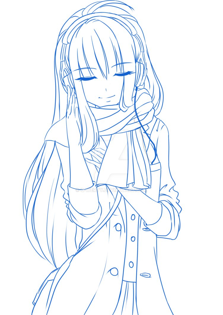 752x1063 Girl Headphones Lineart Blue By Q Werty