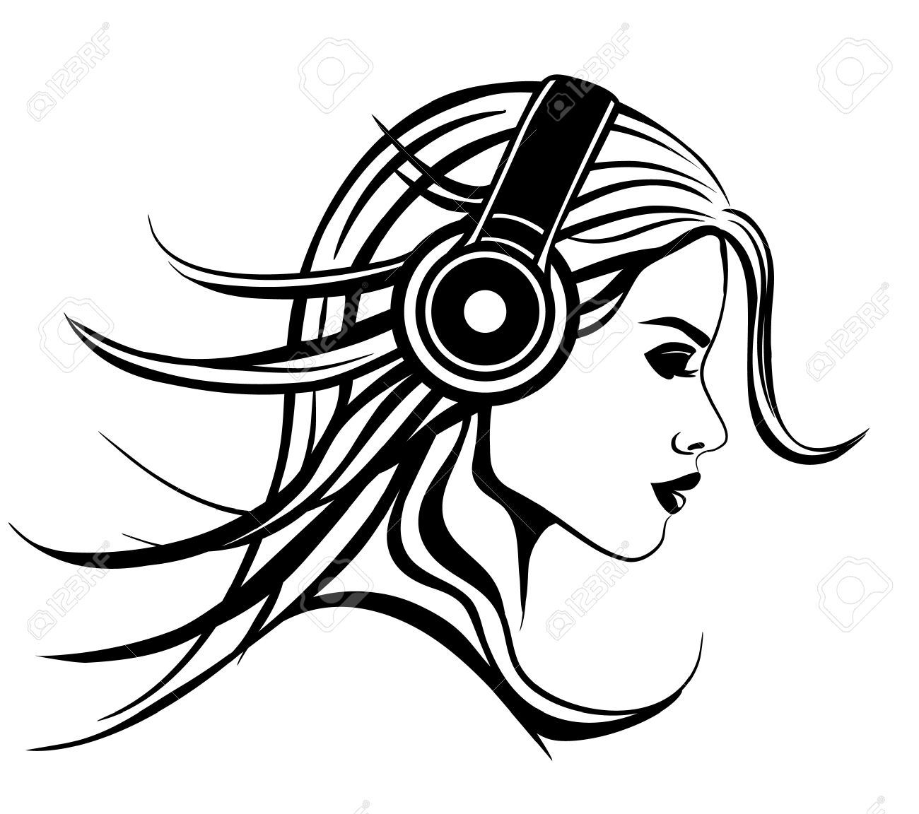 1300x1152 Girl With Headphones Vector Illustration Royalty Free Cliparts