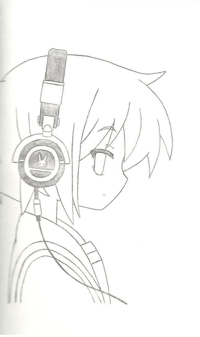 689x1158 Anime Girl With Headphones Drawing