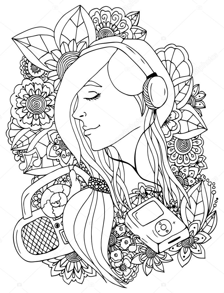 784x1023 Vector Illustration Girl And Headphones In The Flowers. Doodle